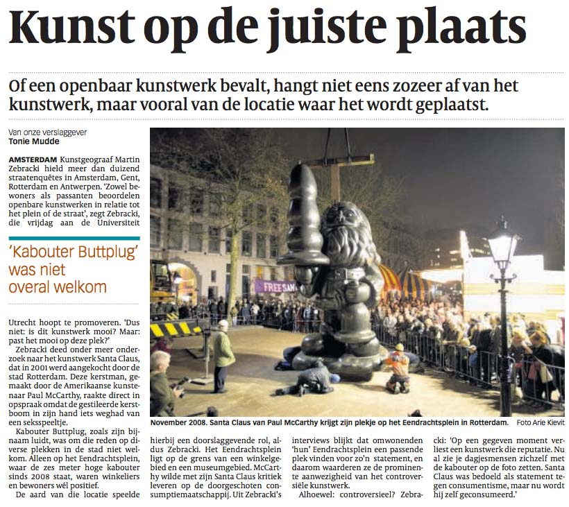 Art in the right place, De Volkskrant, 2012